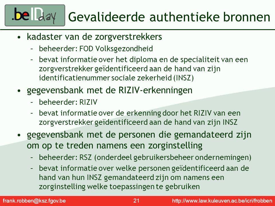 frank.robben@ksz.fgov.be 21 http://www.law.kuleuven.ac.be/icri/frobben Gevalideerde authentieke bronnen kadaster van de zorgverstrekkers –beheerder: F