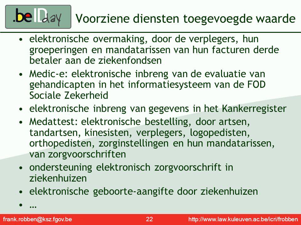 frank.robben@ksz.fgov.be 22 http://www.law.kuleuven.ac.be/icri/frobben Voorziene diensten toegevoegde waarde elektronische overmaking, door de verpleg