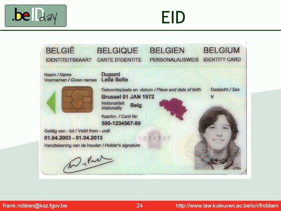 frank.robben@ksz.fgov.be 24 http://www.law.kuleuven.ac.be/icri/frobben EID