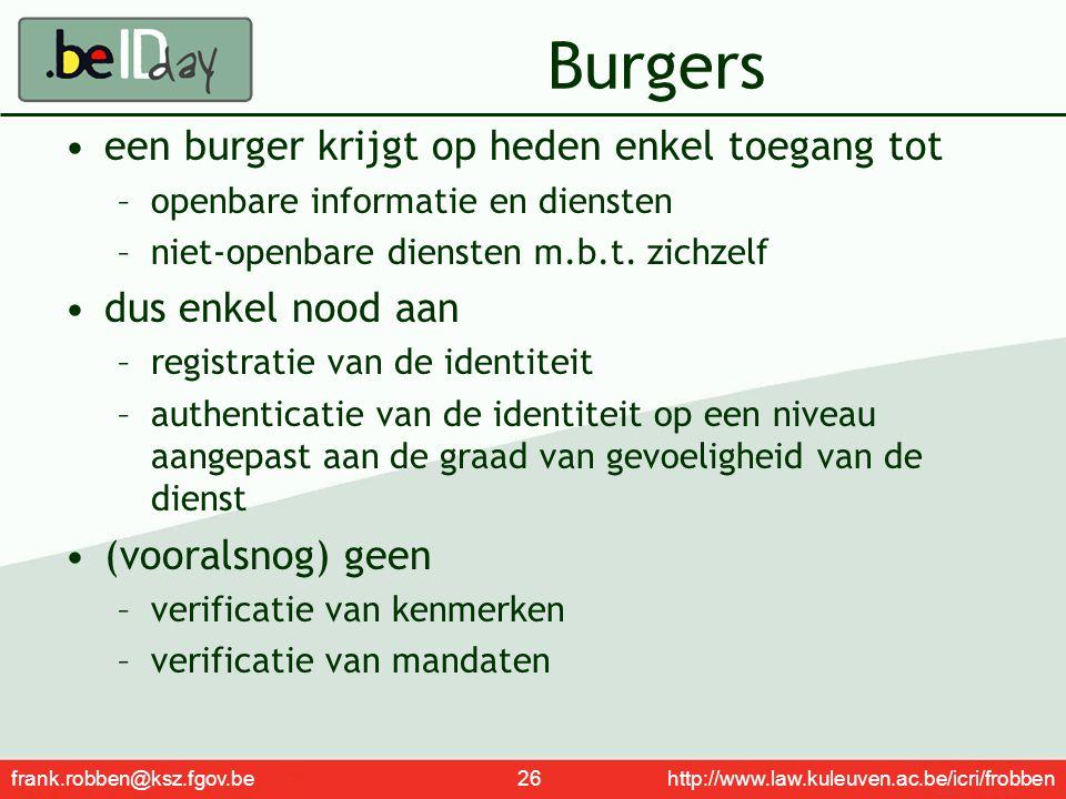 frank.robben@ksz.fgov.be 26 http://www.law.kuleuven.ac.be/icri/frobben Burgers een burger krijgt op heden enkel toegang tot –openbare informatie en di