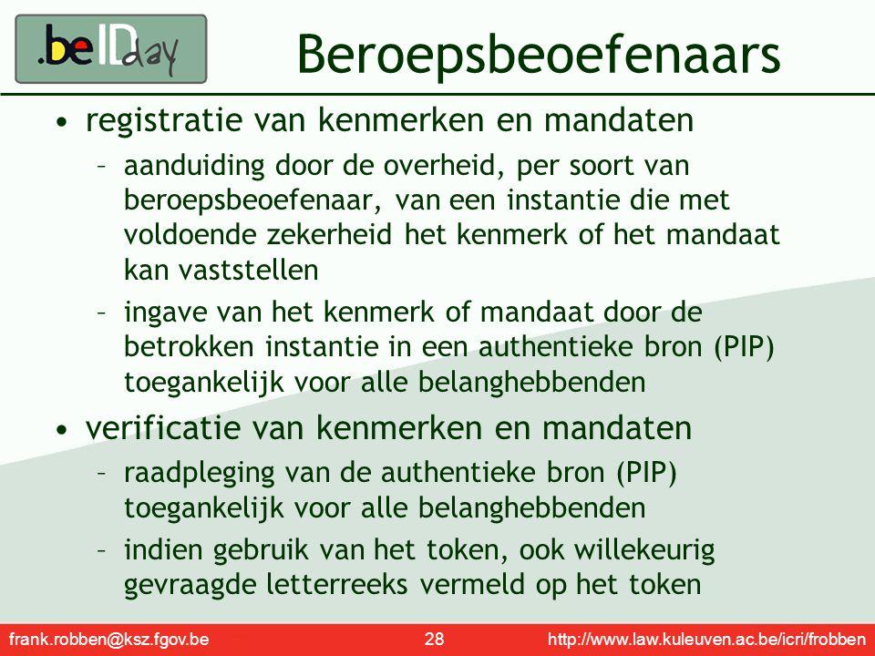 frank.robben@ksz.fgov.be 28 http://www.law.kuleuven.ac.be/icri/frobben Beroepsbeoefenaars registratie van kenmerken en mandaten –aanduiding door de ov