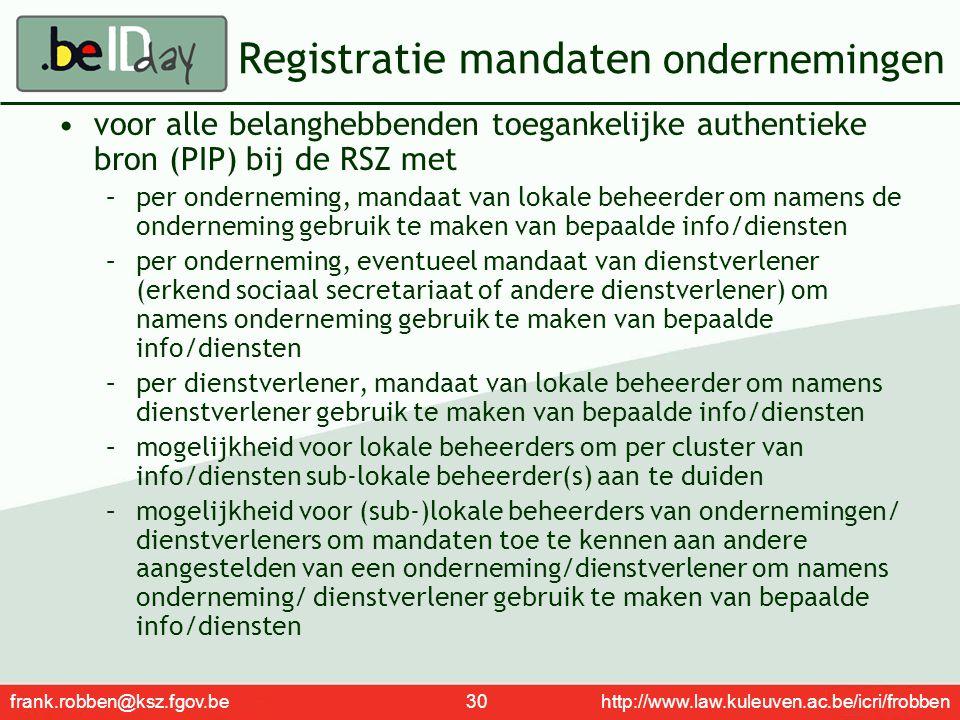 frank.robben@ksz.fgov.be 30 http://www.law.kuleuven.ac.be/icri/frobben Registratie mandaten ondernemingen voor alle belanghebbenden toegankelijke auth