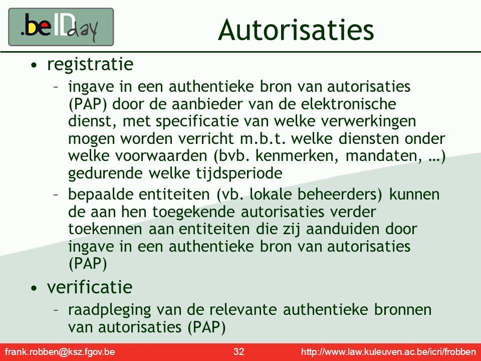 frank.robben@ksz.fgov.be 32 http://www.law.kuleuven.ac.be/icri/frobben Autorisaties registratie –ingave in een authentieke bron van autorisaties (PAP)