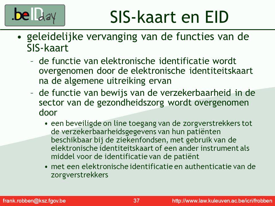 frank.robben@ksz.fgov.be 37 http://www.law.kuleuven.ac.be/icri/frobben SIS-kaart en EID geleidelijke vervanging van de functies van de SIS-kaart –de f
