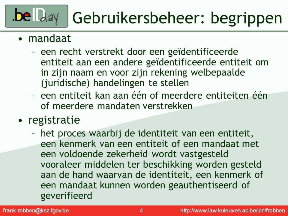 frank.robben@ksz.fgov.be 4 http://www.law.kuleuven.ac.be/icri/frobben Gebruikersbeheer: begrippen mandaat –een recht verstrekt door een geïdentificeer