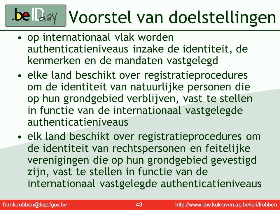 frank.robben@ksz.fgov.be 43 http://www.law.kuleuven.ac.be/icri/frobben Voorstel van doelstellingen op internationaal vlak worden authenticatieniveaus