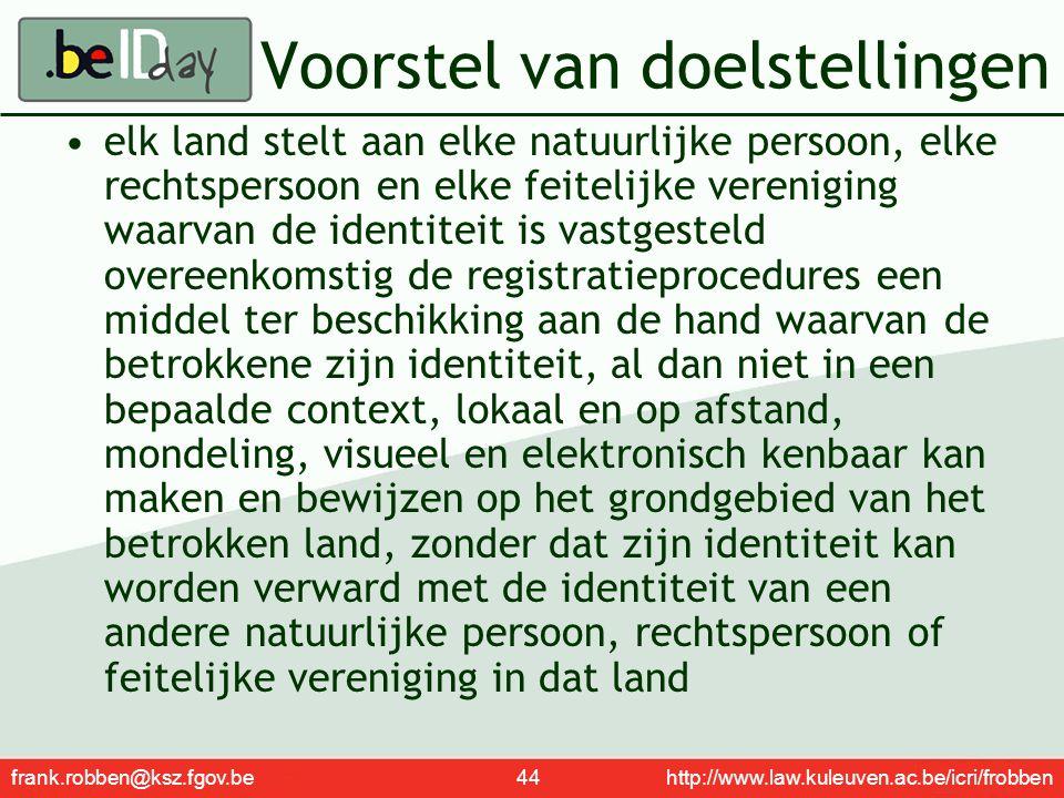 frank.robben@ksz.fgov.be 44 http://www.law.kuleuven.ac.be/icri/frobben Voorstel van doelstellingen elk land stelt aan elke natuurlijke persoon, elke r