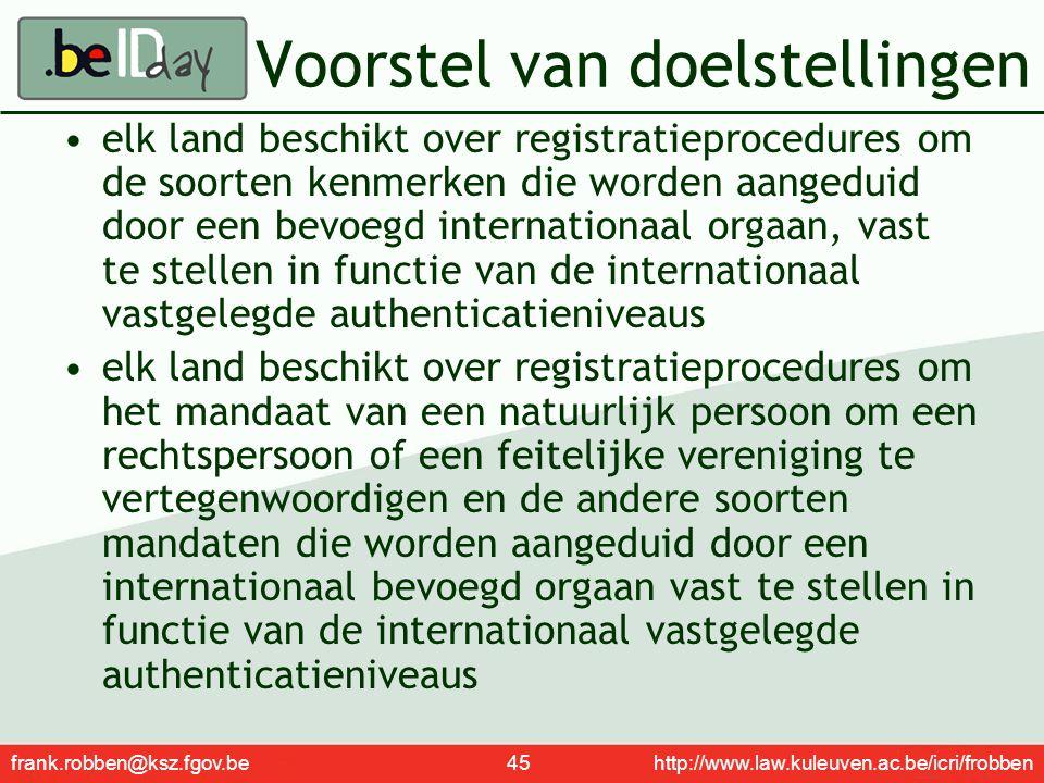 frank.robben@ksz.fgov.be 45 http://www.law.kuleuven.ac.be/icri/frobben Voorstel van doelstellingen elk land beschikt over registratieprocedures om de