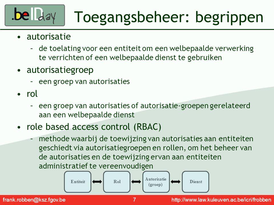 frank.robben@ksz.fgov.be 18 http://www.law.kuleuven.ac.be/icri/frobben Beschikbare basisdiensten netwerk, gebaseerd op bestaande infrastructuur (internet, Carenet, extranet sociale zekerheid, FedMAN, …) portaalomgeving (https://www.behealth.be), met o.a.https://www.behealth.be –content management system –zoekmotor orchestratie van processen persoonlijke elektronische brievenbus voor elke zorgverstrekker geïntegreerd gebruikers- en toegangsbeheer beheer van loggings time stamping