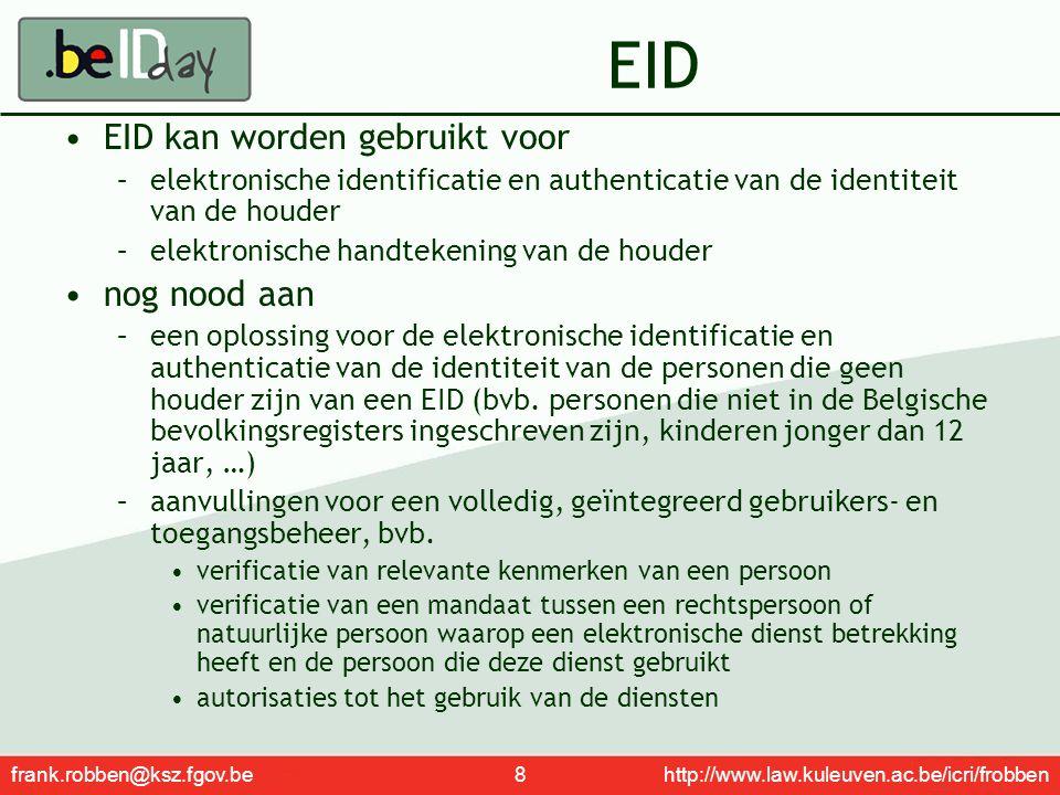 frank.robben@ksz.fgov.be 8 http://www.law.kuleuven.ac.be/icri/frobben EID EID kan worden gebruikt voor –elektronische identificatie en authenticatie v