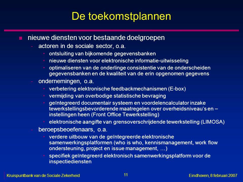 11 Kruispuntbank van de Sociale ZekerheidEindhoven, 8 februari 2007 De toekomstplannen n nieuwe diensten voor bestaande doelgroepen -actoren in de sociale sector, o.a.