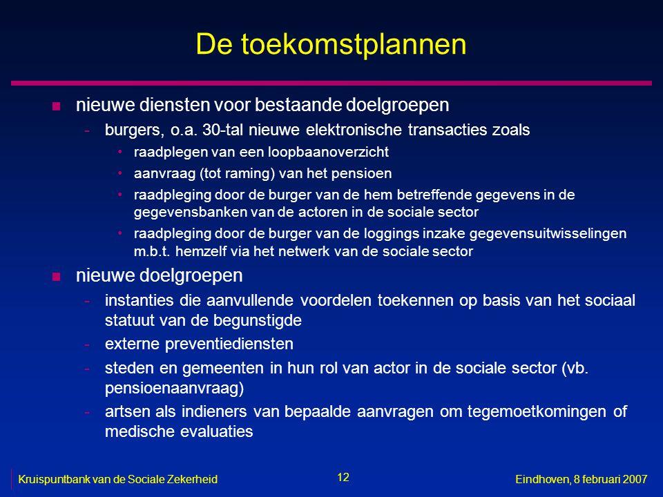 12 Kruispuntbank van de Sociale ZekerheidEindhoven, 8 februari 2007 De toekomstplannen n nieuwe diensten voor bestaande doelgroepen -burgers, o.a. 30-