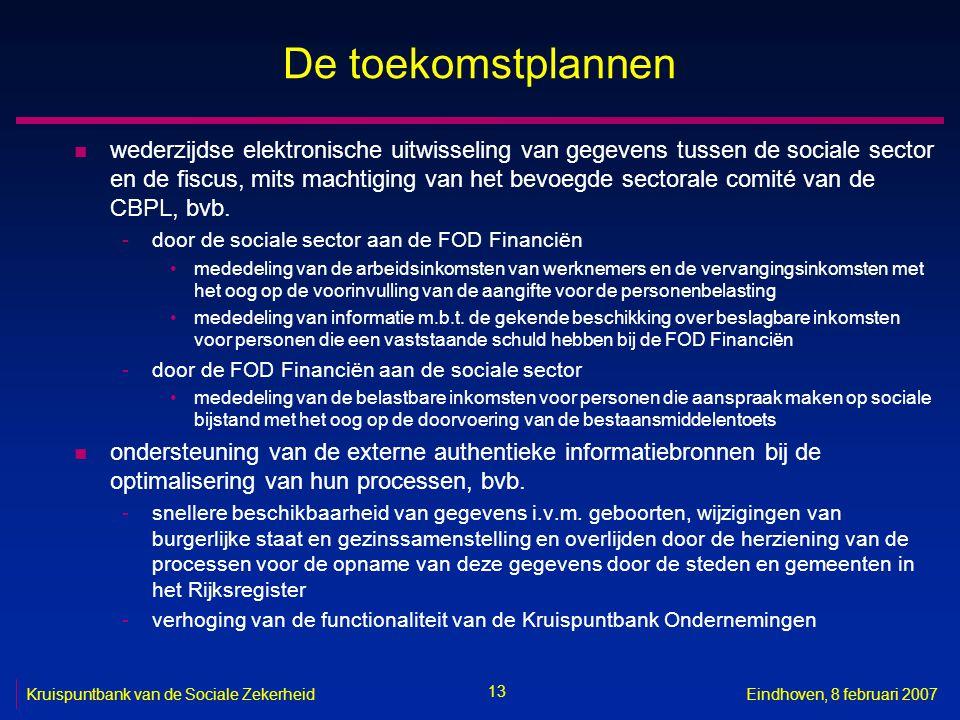 13 Kruispuntbank van de Sociale ZekerheidEindhoven, 8 februari 2007 De toekomstplannen n wederzijdse elektronische uitwisseling van gegevens tussen de sociale sector en de fiscus, mits machtiging van het bevoegde sectorale comité van de CBPL, bvb.