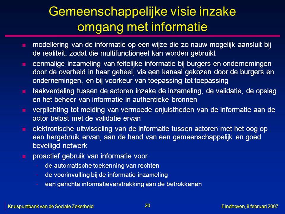 20 Kruispuntbank van de Sociale ZekerheidEindhoven, 8 februari 2007 Gemeenschappelijke visie inzake omgang met informatie n modellering van de informa