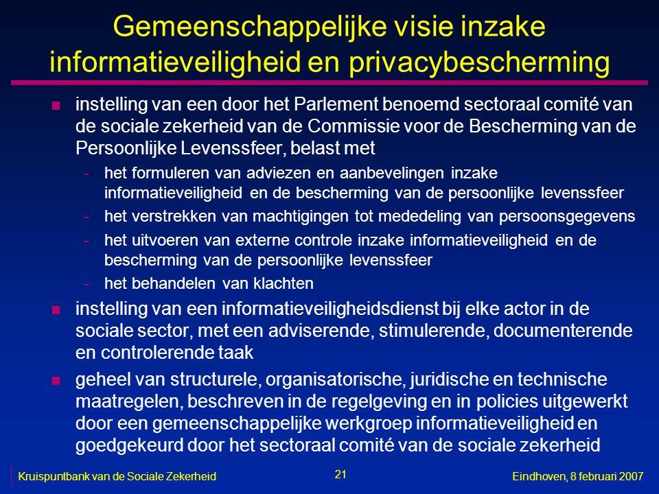 21 Kruispuntbank van de Sociale ZekerheidEindhoven, 8 februari 2007 Gemeenschappelijke visie inzake informatieveiligheid en privacybescherming n inste