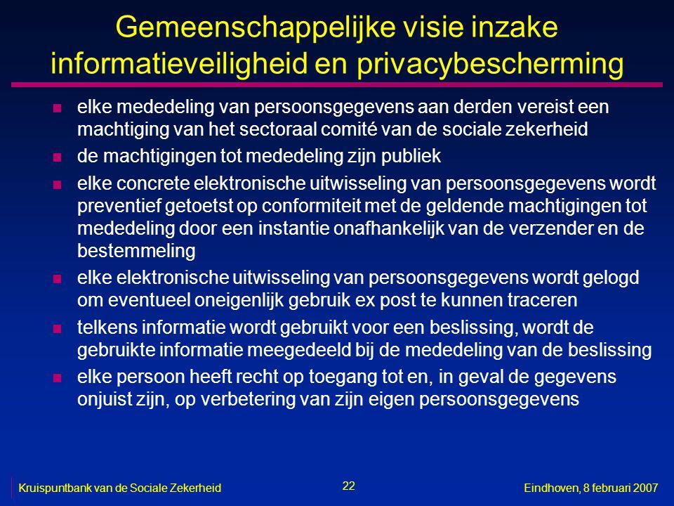 22 Kruispuntbank van de Sociale ZekerheidEindhoven, 8 februari 2007 Gemeenschappelijke visie inzake informatieveiligheid en privacybescherming n elke