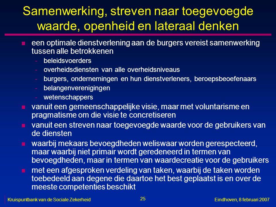 25 Kruispuntbank van de Sociale ZekerheidEindhoven, 8 februari 2007 Samenwerking, streven naar toegevoegde waarde, openheid en lateraal denken n een o