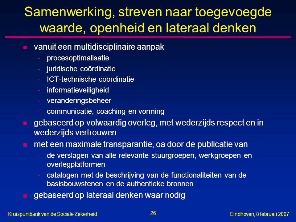 26 Kruispuntbank van de Sociale ZekerheidEindhoven, 8 februari 2007 Samenwerking, streven naar toegevoegde waarde, openheid en lateraal denken n vanui