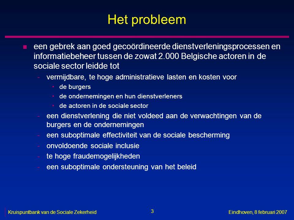 3 Kruispuntbank van de Sociale ZekerheidEindhoven, 8 februari 2007 Het probleem n een gebrek aan goed gecoördineerde dienstverleningsprocessen en info