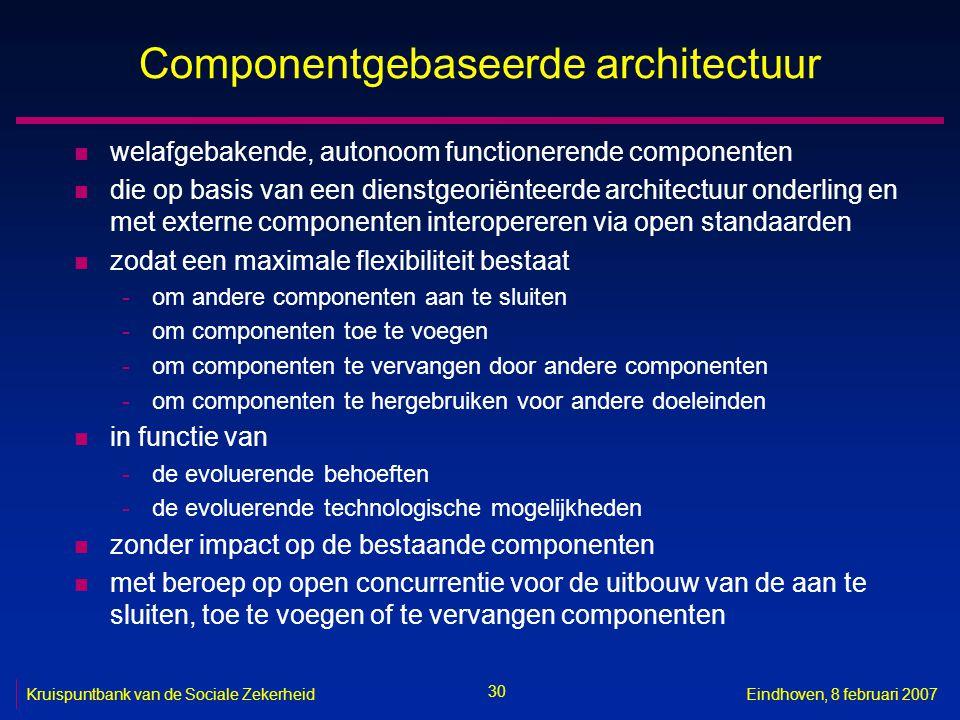30 Kruispuntbank van de Sociale ZekerheidEindhoven, 8 februari 2007 Componentgebaseerde architectuur n welafgebakende, autonoom functionerende compone