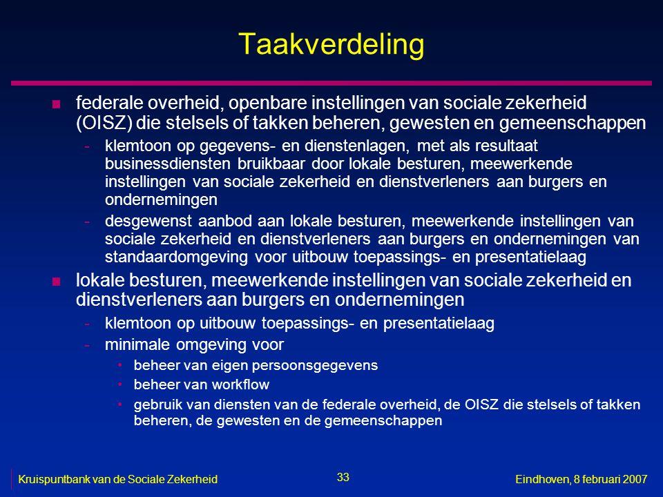 33 Kruispuntbank van de Sociale ZekerheidEindhoven, 8 februari 2007 Taakverdeling n federale overheid, openbare instellingen van sociale zekerheid (OI