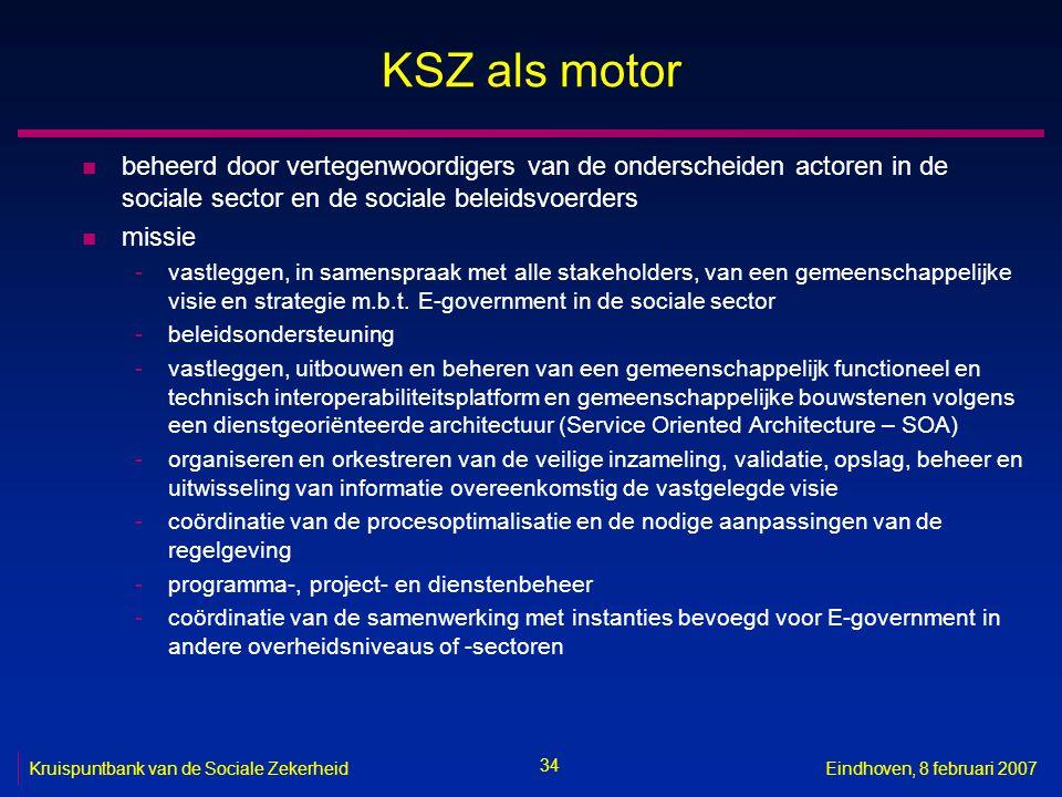 34 Kruispuntbank van de Sociale ZekerheidEindhoven, 8 februari 2007 KSZ als motor n beheerd door vertegenwoordigers van de onderscheiden actoren in de