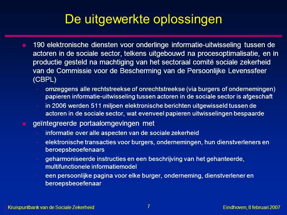 7 Kruispuntbank van de Sociale ZekerheidEindhoven, 8 februari 2007 De uitgewerkte oplossingen n 190 elektronische diensten voor onderlinge informatie-