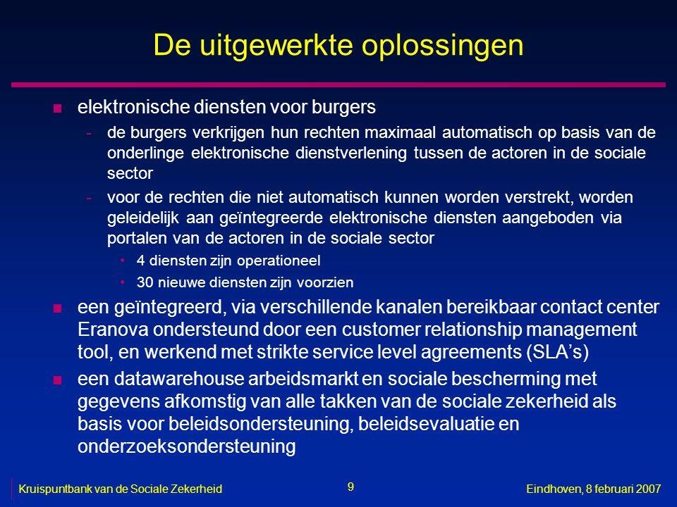 9 Kruispuntbank van de Sociale ZekerheidEindhoven, 8 februari 2007 De uitgewerkte oplossingen n elektronische diensten voor burgers -de burgers verkri