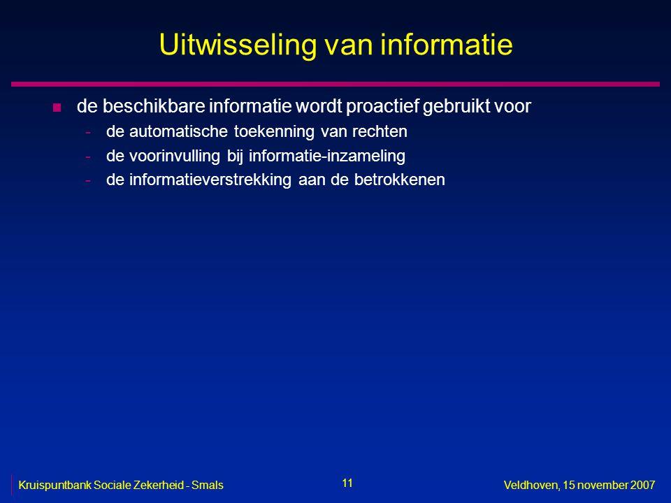 11 Kruispuntbank Sociale Zekerheid - SmalsVeldhoven, 15 november 2007 Uitwisseling van informatie n de beschikbare informatie wordt proactief gebruikt