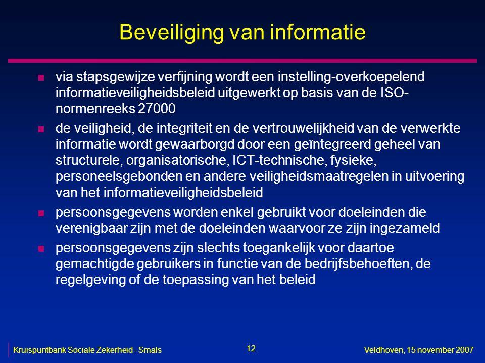 12 Kruispuntbank Sociale Zekerheid - SmalsVeldhoven, 15 november 2007 Beveiliging van informatie n via stapsgewijze verfijning wordt een instelling-ov