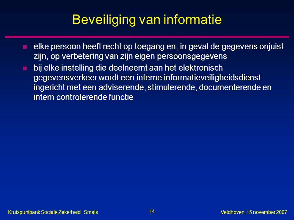 14 Kruispuntbank Sociale Zekerheid - SmalsVeldhoven, 15 november 2007 Beveiliging van informatie n elke persoon heeft recht op toegang en, in geval de