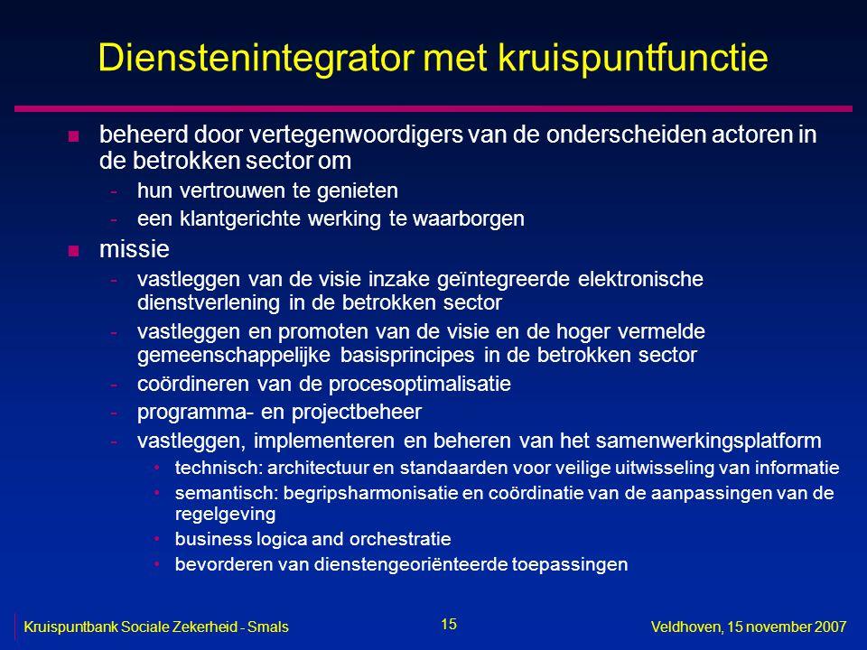 15 Kruispuntbank Sociale Zekerheid - SmalsVeldhoven, 15 november 2007 Dienstenintegrator met kruispuntfunctie n beheerd door vertegenwoordigers van de