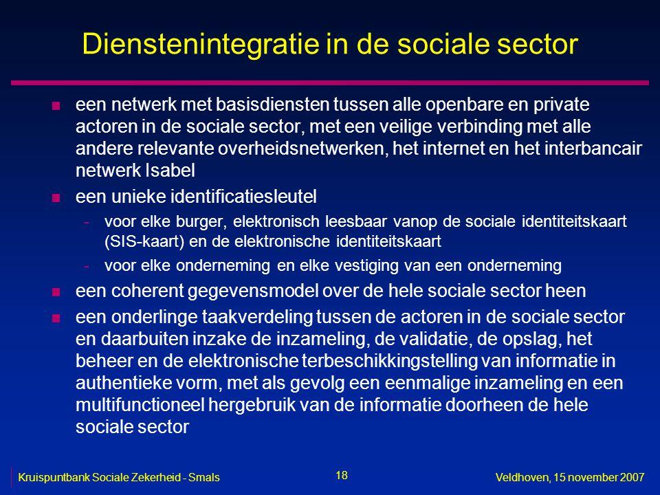 18 Kruispuntbank Sociale Zekerheid - SmalsVeldhoven, 15 november 2007 Dienstenintegratie in de sociale sector n een netwerk met basisdiensten tussen a