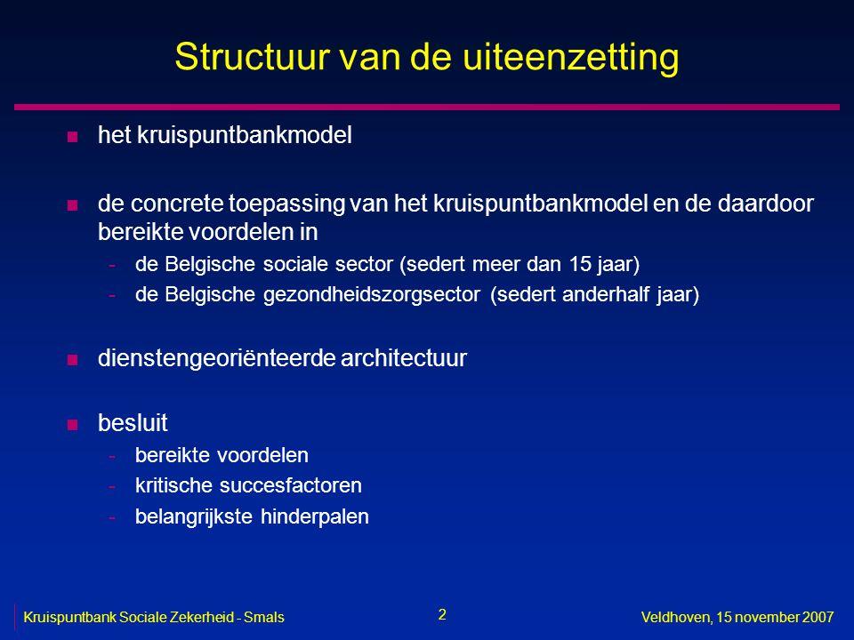 2 Veldhoven, 15 november 2007 Structuur van de uiteenzetting n het kruispuntbankmodel n de concrete toepassing van het kruispuntbankmodel en de daardo