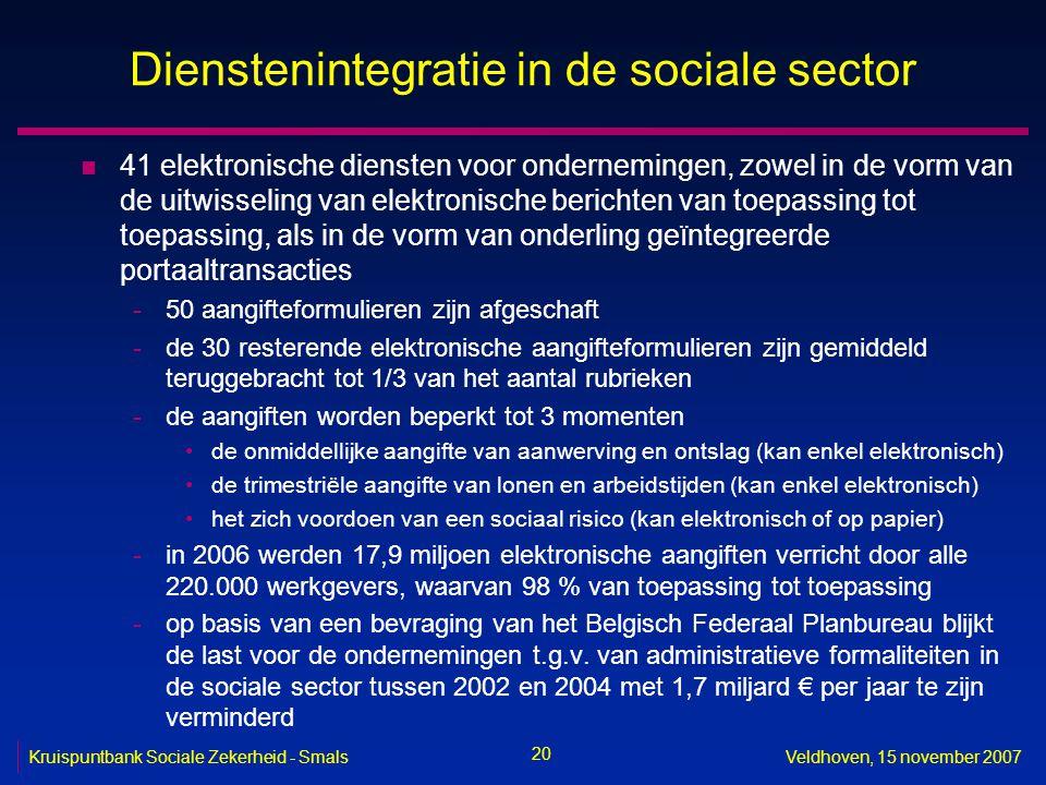 20 Kruispuntbank Sociale Zekerheid - SmalsVeldhoven, 15 november 2007 Dienstenintegratie in de sociale sector n 41 elektronische diensten voor onderne