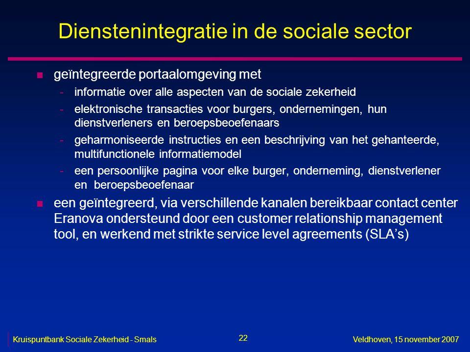 22 Kruispuntbank Sociale Zekerheid - SmalsVeldhoven, 15 november 2007 Dienstenintegratie in de sociale sector n geïntegreerde portaalomgeving met -inf