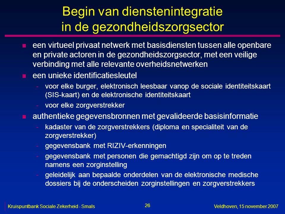 26 Kruispuntbank Sociale Zekerheid - SmalsVeldhoven, 15 november 2007 Begin van dienstenintegratie in de gezondheidszorgsector n een virtueel privaat