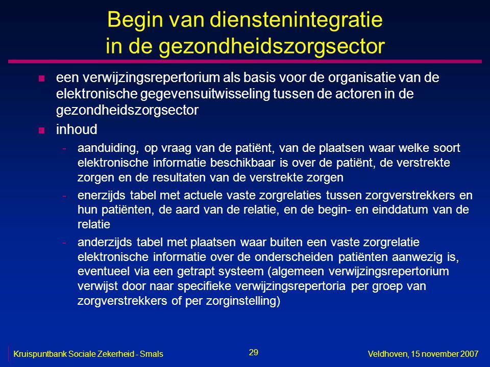 29 Kruispuntbank Sociale Zekerheid - SmalsVeldhoven, 15 november 2007 Begin van dienstenintegratie in de gezondheidszorgsector n een verwijzingsrepert
