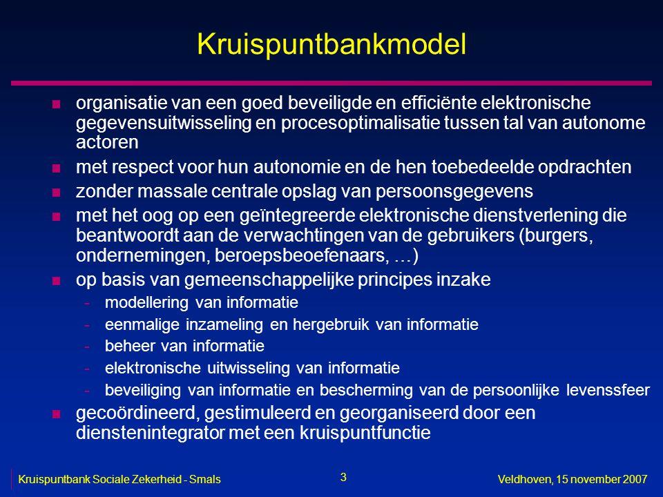 3 Kruispuntbank Sociale Zekerheid - SmalsVeldhoven, 15 november 2007 Kruispuntbankmodel n organisatie van een goed beveiligde en efficiënte elektronis