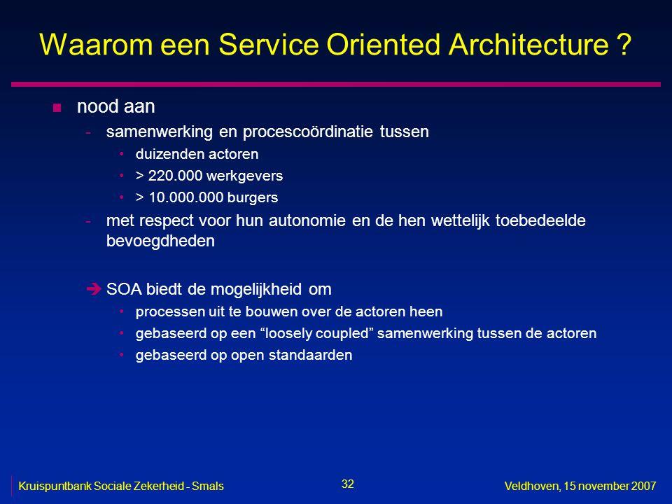 32 Kruispuntbank Sociale Zekerheid - SmalsVeldhoven, 15 november 2007 Waarom een Service Oriented Architecture ? n nood aan -samenwerking en procescoö