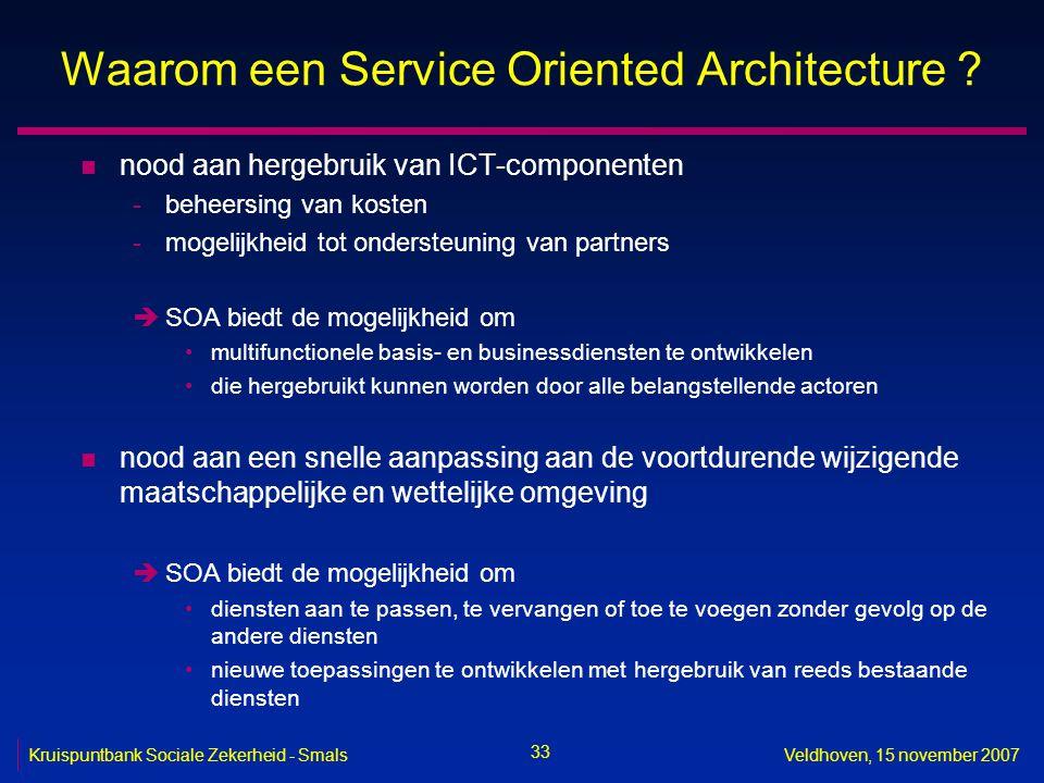 33 Kruispuntbank Sociale Zekerheid - SmalsVeldhoven, 15 november 2007 Waarom een Service Oriented Architecture ? n nood aan hergebruik van ICT-compone
