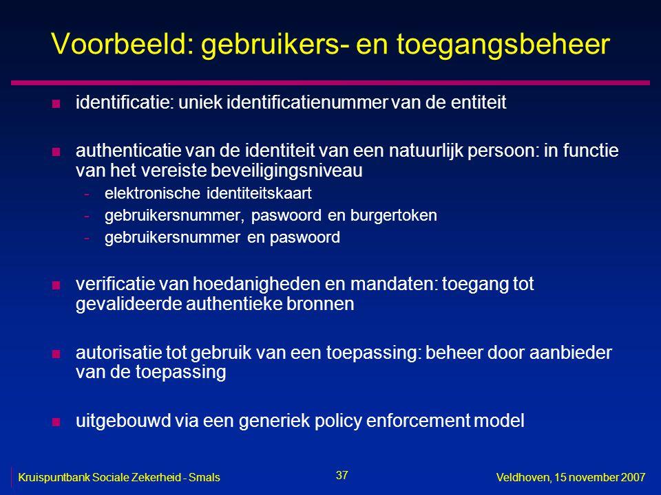 37 Kruispuntbank Sociale Zekerheid - SmalsVeldhoven, 15 november 2007 Voorbeeld: gebruikers- en toegangsbeheer n identificatie: uniek identificatienum