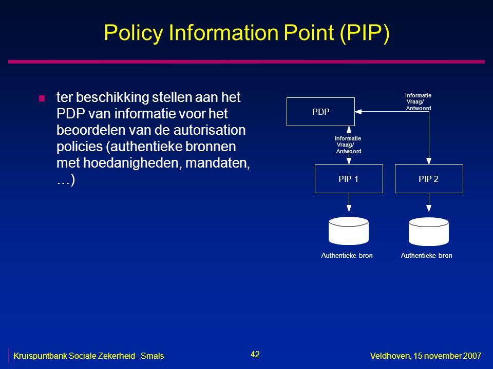42 Kruispuntbank Sociale Zekerheid - SmalsVeldhoven, 15 november 2007 Policy Information Point (PIP) n ter beschikking stellen aan het PDP van informa
