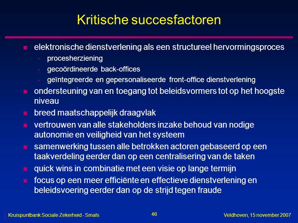 46 Kruispuntbank Sociale Zekerheid - SmalsVeldhoven, 15 november 2007 Kritische succesfactoren n elektronische dienstverlening als een structureel her