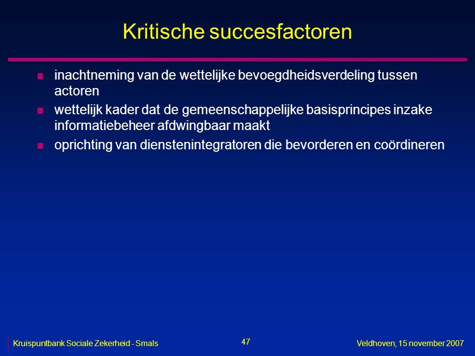 47 Kruispuntbank Sociale Zekerheid - SmalsVeldhoven, 15 november 2007 Kritische succesfactoren n inachtneming van de wettelijke bevoegdheidsverdeling