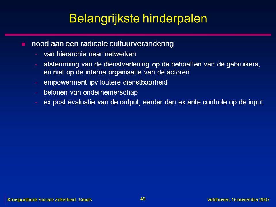 49 Kruispuntbank Sociale Zekerheid - SmalsVeldhoven, 15 november 2007 Belangrijkste hinderpalen n nood aan een radicale cultuurverandering -van hiërar