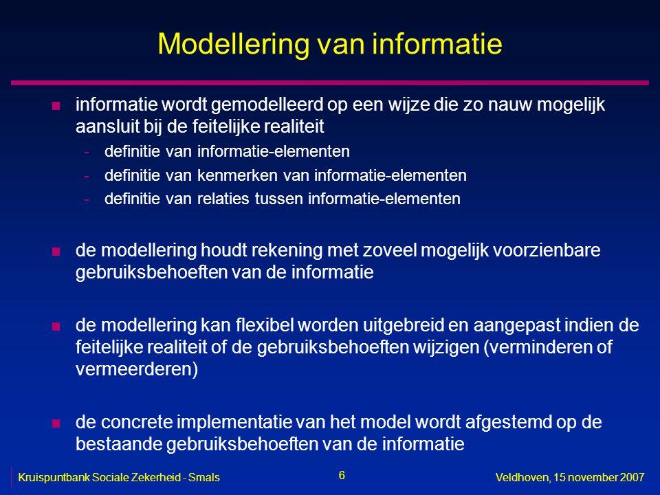 6 Kruispuntbank Sociale Zekerheid - SmalsVeldhoven, 15 november 2007 Modellering van informatie n informatie wordt gemodelleerd op een wijze die zo na