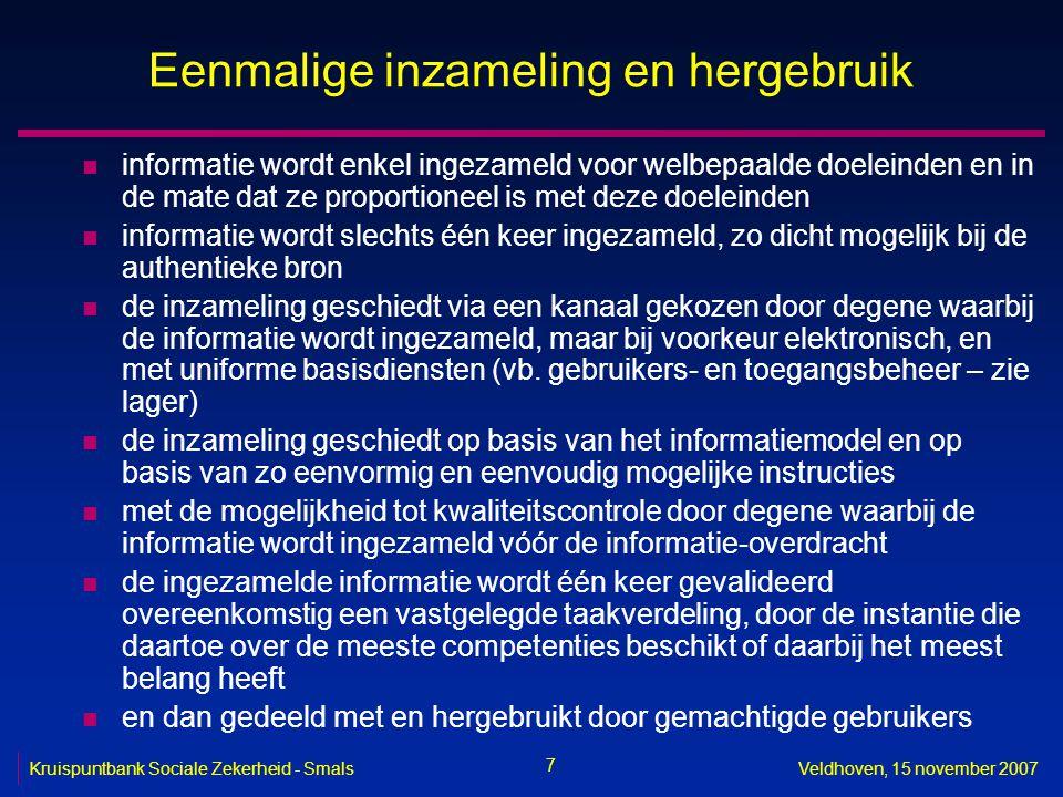 7 Kruispuntbank Sociale Zekerheid - SmalsVeldhoven, 15 november 2007 Eenmalige inzameling en hergebruik n informatie wordt enkel ingezameld voor welbe