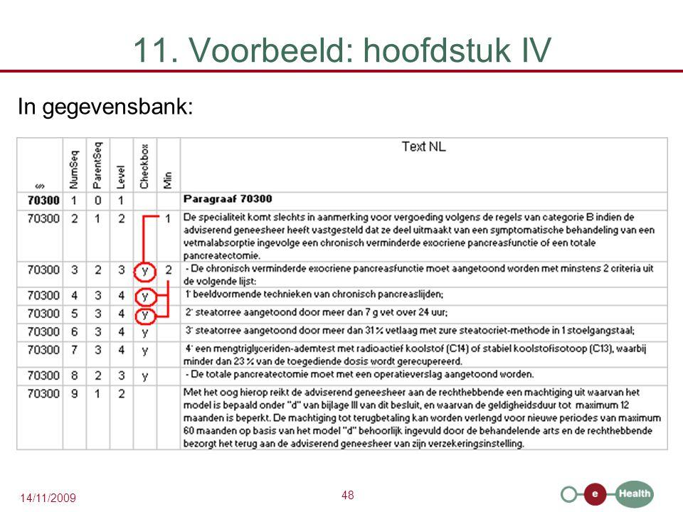 48 14/11/2009 11. Voorbeeld: hoofdstuk IV In gegevensbank: