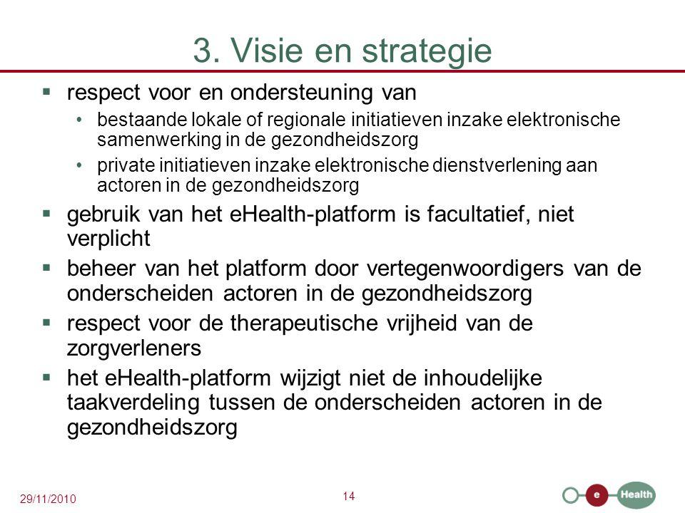 14 29/11/2010 3. Visie en strategie  respect voor en ondersteuning van bestaande lokale of regionale initiatieven inzake elektronische samenwerking i